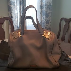 Vince Camuto dove grey satchel with gold spikes